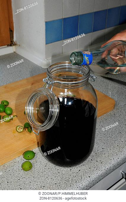 Walnuss-Likör zubereiten, Alkohol aufgießen