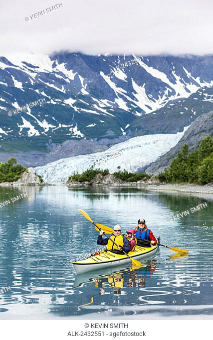 Sea kayakers in front of Shoup Glacier, Shoup Bay State Marine Park, Prince William Sound, Valdez, Southcentral Alaska