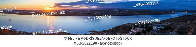 The Guadiana river, border between Spain and Portugal, seen from Ayamonte, Huelva, Spain. High resolution panorama