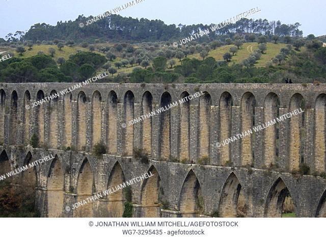 PORTUGAL Tomar -- 2015 -- The aqueduct ( Aqueduto de Pegoes ) of the Convento de Cristo - the one-time headquarters of the Knights Templar near Tomar Portugal...