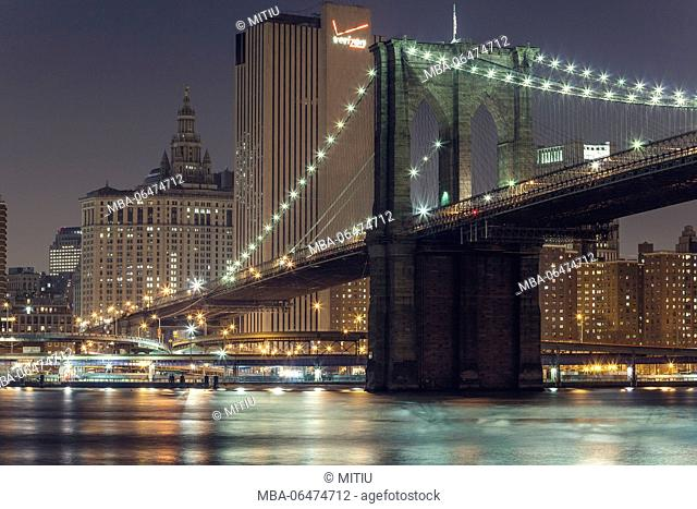 Brooklyn Bridge at night, Manhattan, New York city, New York, the USA, North America
