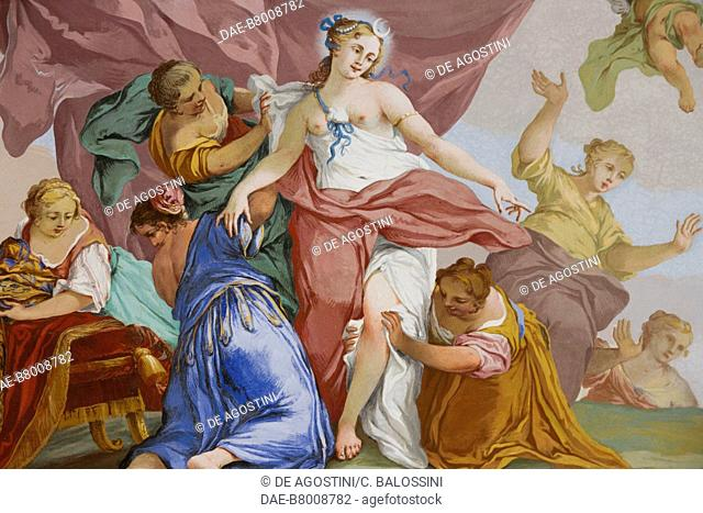 Representations of the myth of Diana, by Domenico and Giuseppe Valeriani, fresco, vaulted ceiling of the bedroom, King's apartment