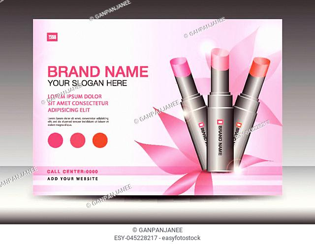 Cosmetics Banner design Template vector illustration, lipstick mask bottle isolated, Brochure flyer, product design, advertisement layout, poster, card