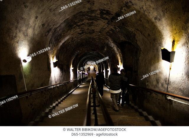France, Marne, Champagne Ardenne, Reims, Pommery champagne winery, passageway to ancient Gallo-Roman quarries now used as champagne cellars