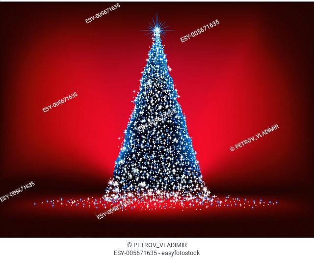 Abstract Christmas tree card. EPS 8