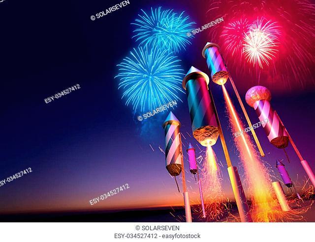 Firework rockets launching into the night sky. Fireworks event background. 3D illustration
