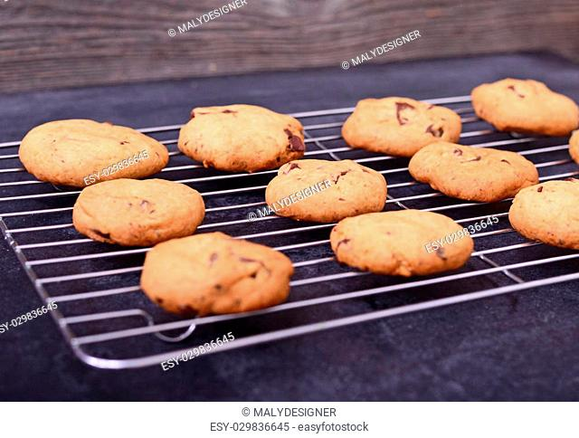 Home baked chocolate cookies on cooling rack on black background - close up