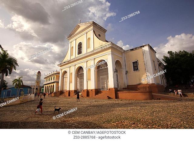 View to the Iglesia de Santisima Trinidad- Holy Trinity Church, Museo Romantico and Museo Nacional de la Lucha contra Bandidos at the Main Square-Plaza Mayor