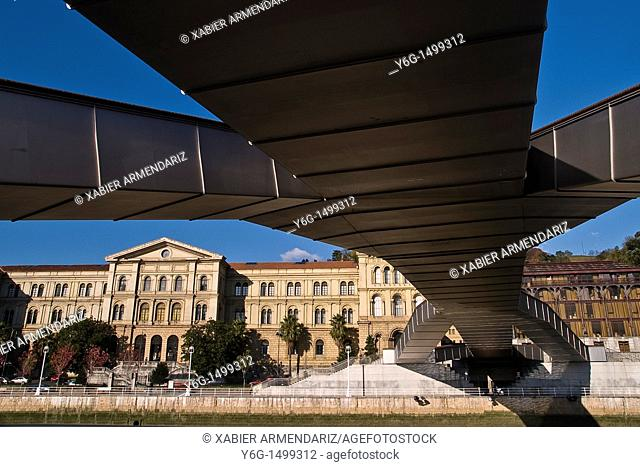 University of Deusto and footbridge over the estuary of Bilbao, Biscay province, Basque country, Euskadi, Spain