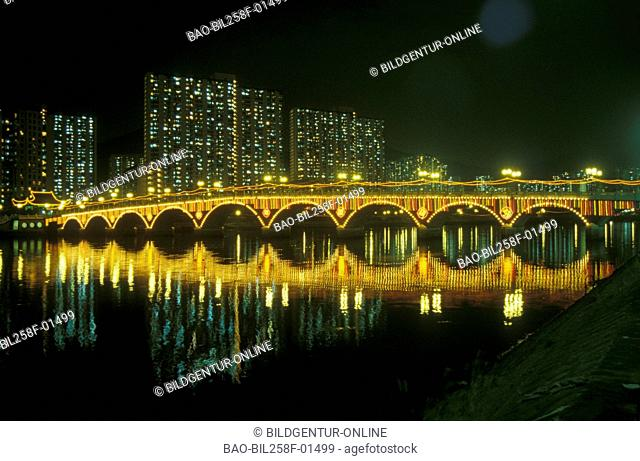 A bridge with Shatin in Kowloon in Hong Kong in southeast Asia