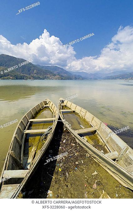 Wooden Rowing Boats, Phewa Lake, Fewa Lake, Pokhara, Nepal, Asia
