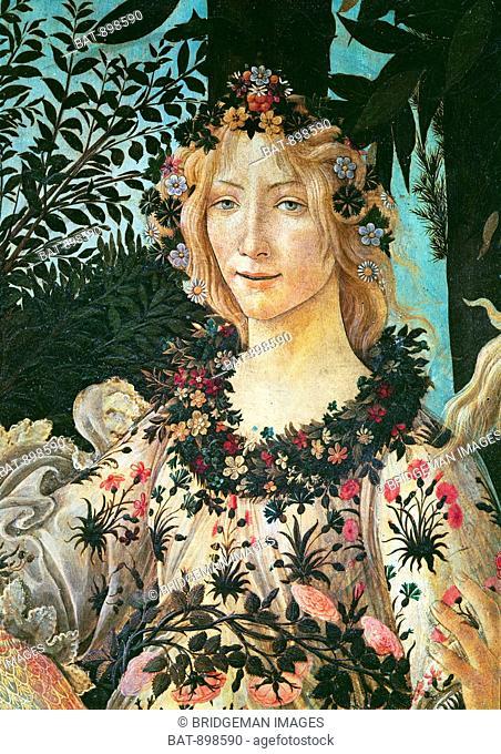 Botticelli, Sandro (Alessandro di Mariano di Vanni Filipepi) (1444/5-1510)Primavera, detail of Flora as the Hour of Spring, 1478 (tempera on panel), Botticelli