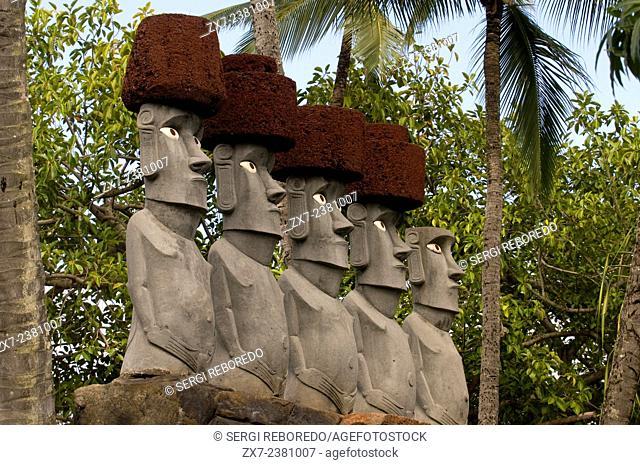 Rapa Nui Moai. Stone statues. Polynesian Cultural Center. O'ahu. Hawaii. The Polynesian Cultural Center (PCC) is a Polynesian-themed theme park and living...