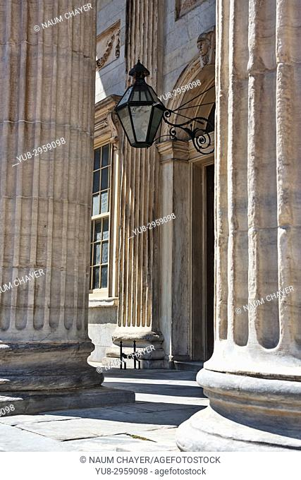 Detail of First Bank of the United States with ancient metal lamp ,Philadelphia, Pennsylvania, USA