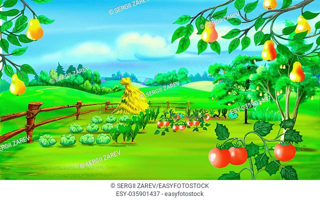Digital painting of the Rural landscape with Kitchen Garden