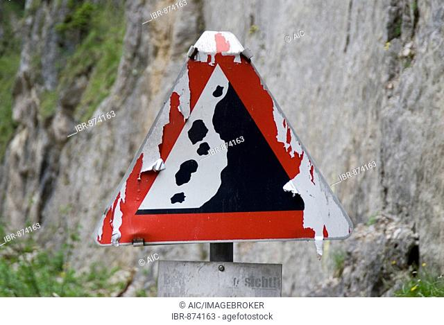 Falling Rocks warning sign, Kalkalpen National Park, Upper Austria, Austria, Europe