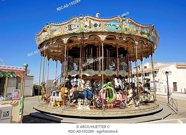 Carrousel, Les Saintes-Maries-de-la-Mer, Camargue, Bouches-du-Rhone, Provence-Alpes-Cote d'Azur, Southern France