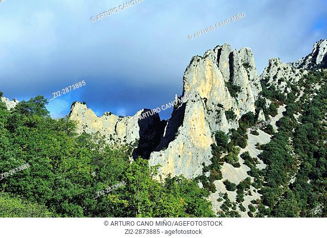 The mountains in limestone of the Valley of Guatizalema. Sierra y Cañones of Guara Natural Park, Huesca province, Spain