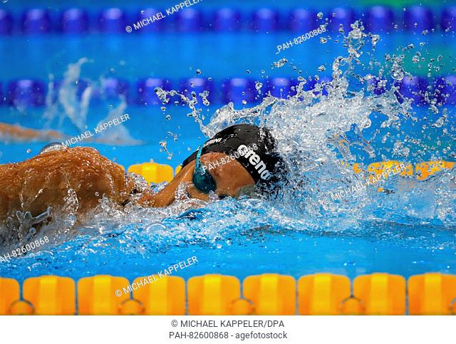 Federica Pellegrini of Italy competes in the Women's 200m Freestyle of the Swimming events during the Rio 2016 Olympic Games at the Olympic Aquatics Stadium in...