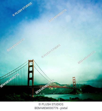 Silhouette of Golden Gate Bridge, San Rafael, California, United States