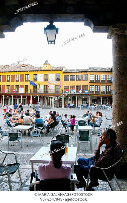 Terraces at Main Square. Tordesillas, Valladolid province, Castilla León, Spain