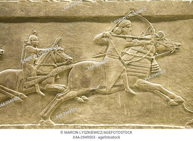 Lion Hunting - King Ashurbanipal on Horse with Bow, Circa 645-635 BCE, British Museum, London