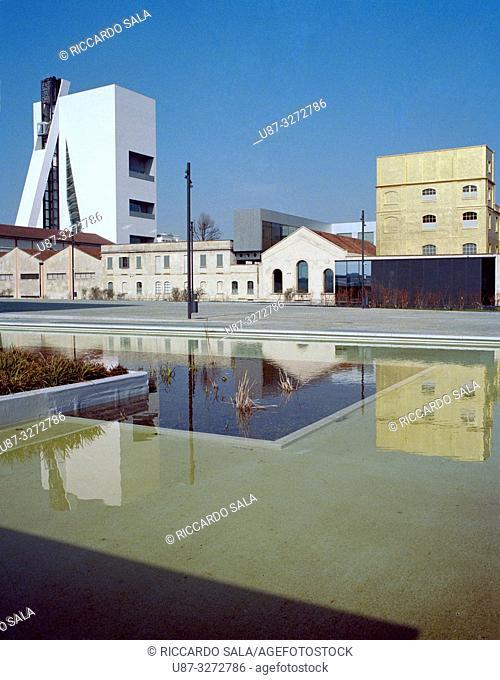 Italy, Lombardy, Milan, Piazza Adriano Olivetti Square, Fondazione Prada Foundation, Left Tower Right The Haunted House . .