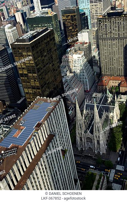 St. Patrick's Cathedral, view from Rockefeller Center, Manhattan, New York, USA, America