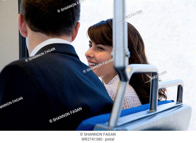Man and woman on train