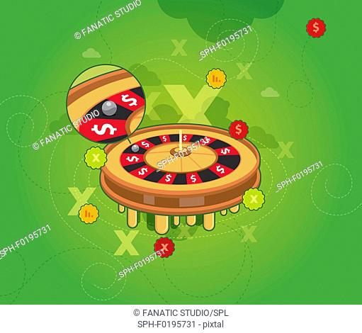 Roulette wheel, illustration