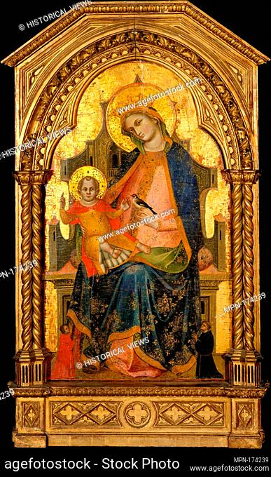 Madonna and Child Enthroned with Two Donors. Artist: Lorenzo Veneziano (Italian, Venice, active 1356-72); Date: ca. 1360-65; Medium: Tempera on wood