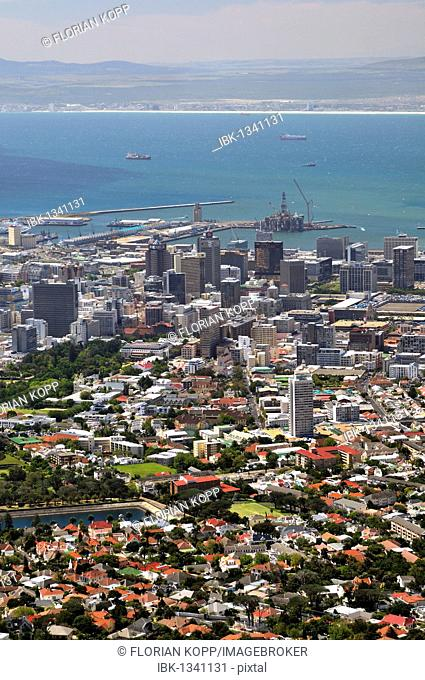 View over Cape Town from Table Mountain, South Africa, Africa