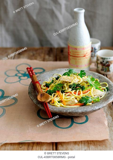 Bowl of vegetables and noodles