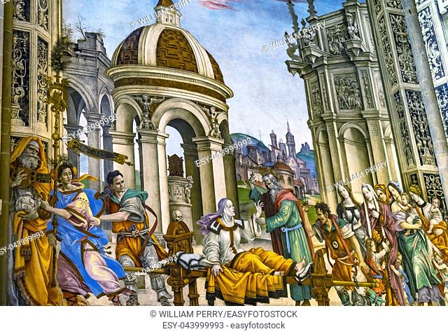 Ghirlandaio Fresco Life of Virgin Tornabuoni Chapel Santa Maria Novella Church Florence Italy. Fresco created 1485