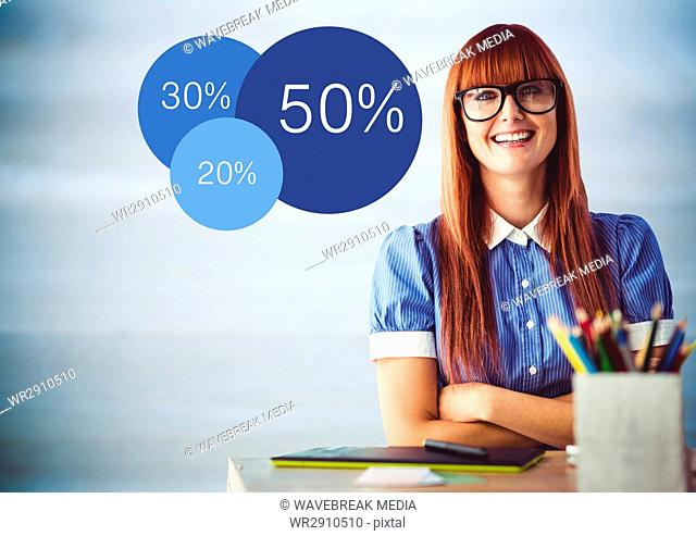 Woman at desk with arms crossed and blue statistics against blurry blue wood panel