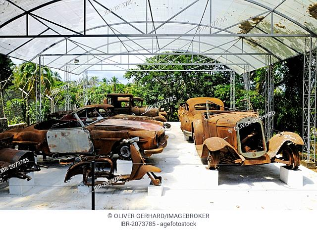 Burnt out cars, fleet, Museum at the Hacienda Napoles, former estate of drug baron Pablo Escobar, head of the Medellin Cartel, Puerto Triunfo, Antioquia