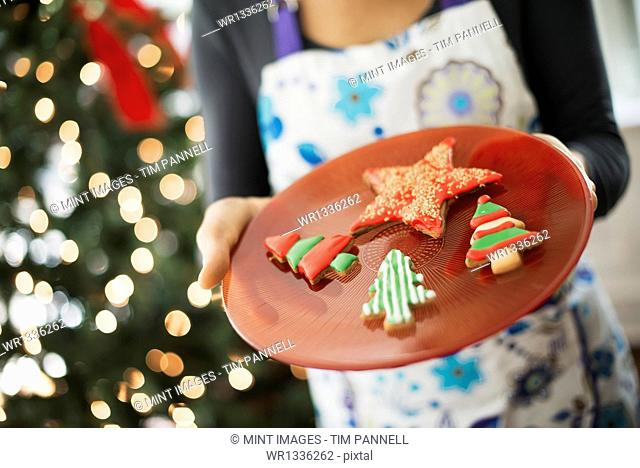 A woman wearing an apron holding a plate of organic decorated Christmas cookies