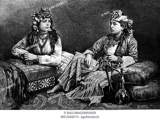 Historical engraving, Meuoli woman and muslim woman, Syria, 1888