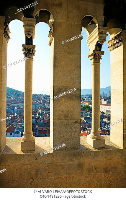 View from the Cathedral tower, Diocletian palace, Split, Dalmatian coast, Dalmatia, Croatia
