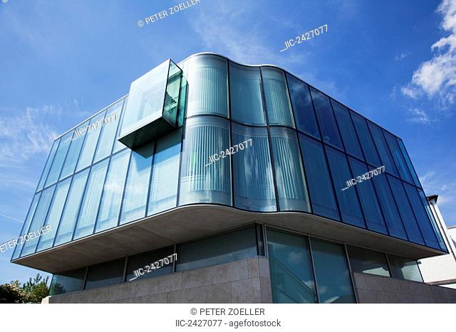 A modern building with curved glass walls; Galway City, County Galway, Ireland