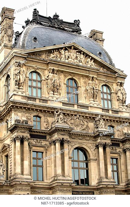 Main front of Pavillon Richelieu, Louvre Museum, Paris, France