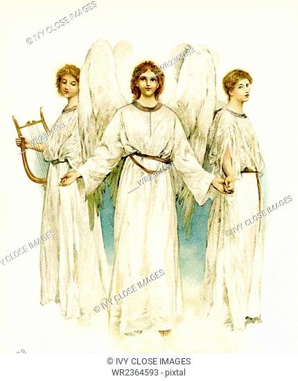 This illustration of three angels accompanied Phillips Brooks's Poems (c. 1886) by Phillips Brooks (1893). The poem reads: He shall give His angels charge over...