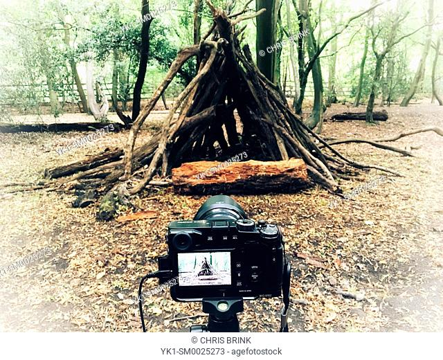 Photographing primitive hut in forest UK