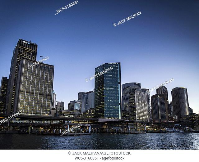 CBD central business district and circular quay area of downtown sydney city australia at sunset