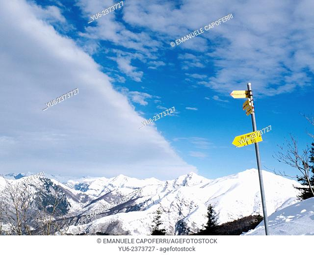 Signs for hikers, Prealps, Lombardy, Varese, Italy