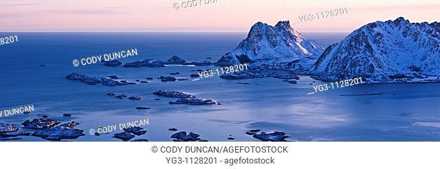 View of Sennesvikfjord and Vestfjord from Stamsundsheia, Vestvagoy, Lofoten islands, Norway