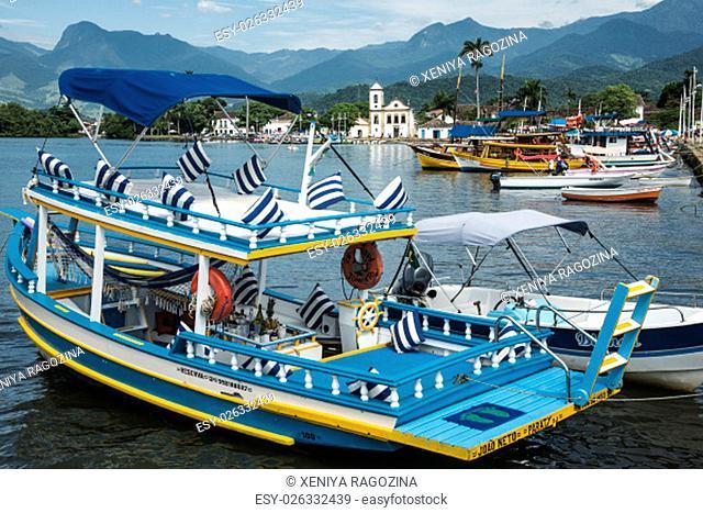 RIO DE JANEIRO, FEBRUARY, 15, 2016 - Tourist boats waiting for tourists in Paraty, state Rio de Janeiro, Brazil