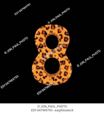 Illustration 3D Rendering Creative Illustration Leopard Print Furry Number 8