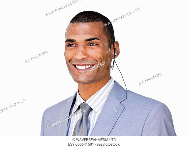 Confident businessman with headset on against a white background