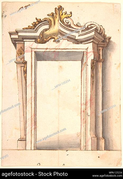 Two Alternate Designs for a Doorway. Artist: Anonymous, Italian, Piedmontese, 18th century; Date: ca. 1730-60; Medium: Pen and brown ink, brush and brown, gray